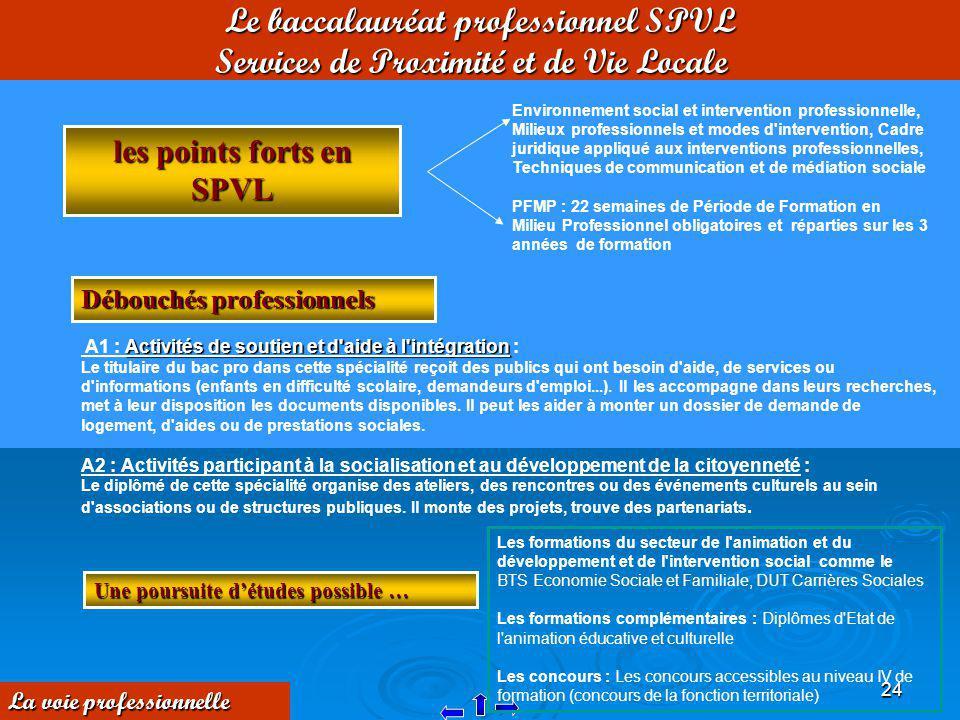 24 Le baccalauréat professionnel SPVL Services de Proximité et de Vie Locale les points forts en SPVL Environnement social et intervention professionn