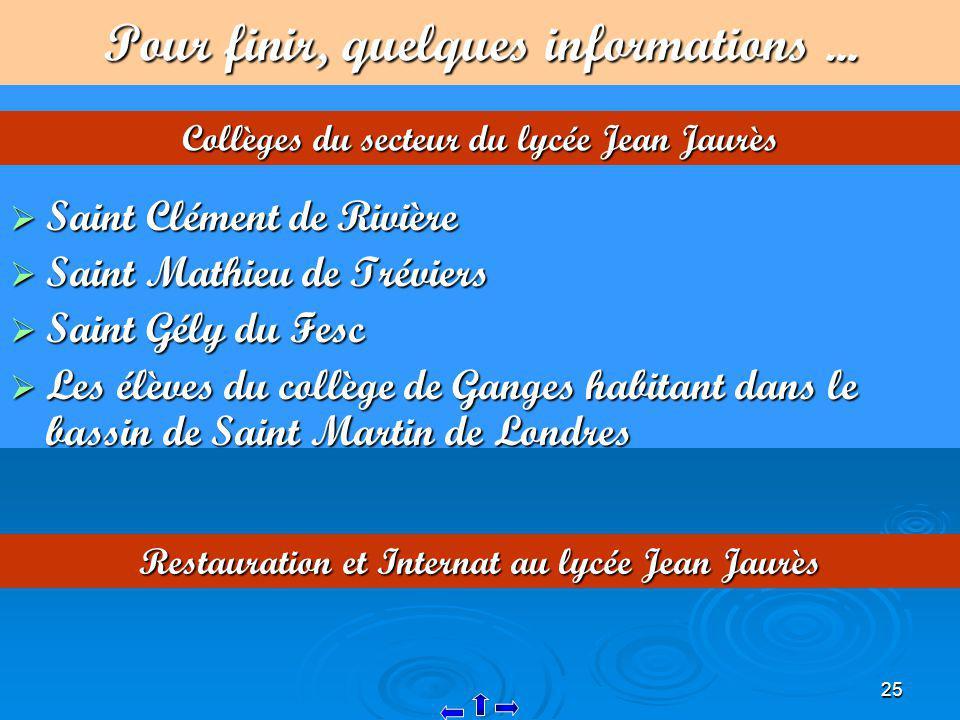 25 Pour finir, quelques informations... Saint Clément de Rivière Saint Clément de Rivière Saint Mathieu de Tréviers Saint Mathieu de Tréviers Saint Gé