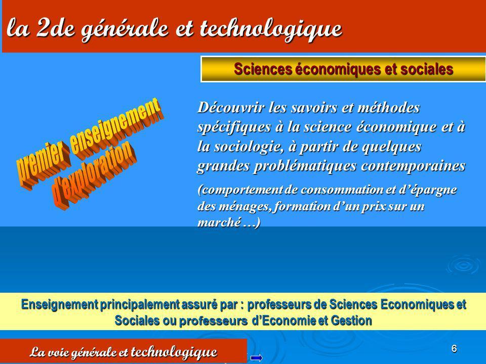 6 Découvrir les savoirs et méthodes spécifiques à la science économique et à la sociologie, à partir de quelques grandes problématiques contemporaines