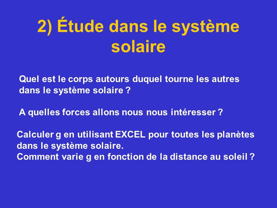 2) Étude dans le système solaire Calculer g en utilisant EXCEL pour toutes les planètes dans le système solaire. Comment varie g en fonction de la dis