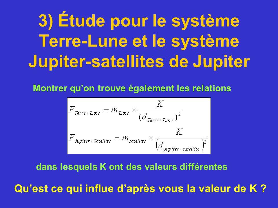 3) Étude pour le système Terre-Lune et le système Jupiter-satellites de Jupiter Montrer quon trouve également les relations dans lesquels K ont des va