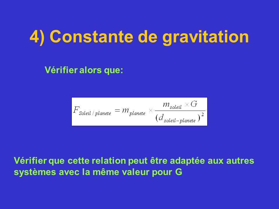 4) Constante de gravitation Vérifier alors que: Vérifier que cette relation peut être adaptée aux autres systèmes avec la même valeur pour G