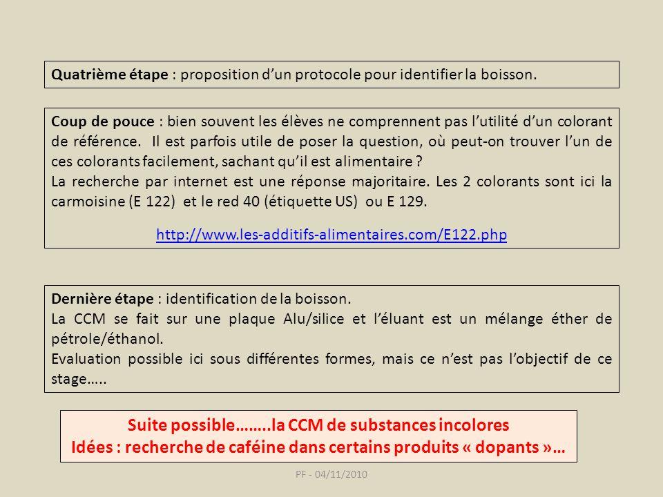 PF - 04/11/2010 Quatrième étape : proposition dun protocole pour identifier la boisson.
