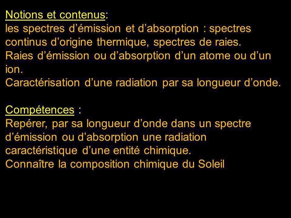 Notions et contenus: les spectres démission et dabsorption : spectres continus dorigine thermique, spectres de raies. Raies démission ou dabsorption d