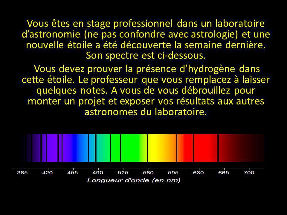 Vous êtes en stage professionnel dans un laboratoire dastronomie (ne pas confondre avec astrologie) et une nouvelle étoile a été découverte la semaine
