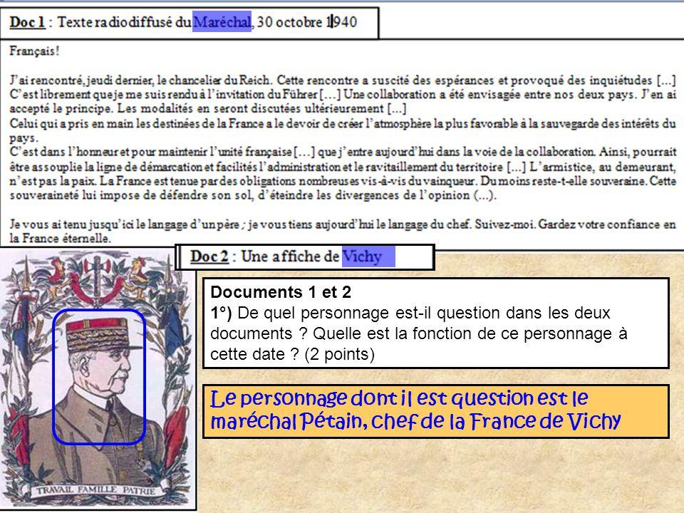 Documents 1 et 2 1°) De quel personnage est-il question dans les deux documents ? Quelle est la fonction de ce personnage à cette date ? (2 points) Le