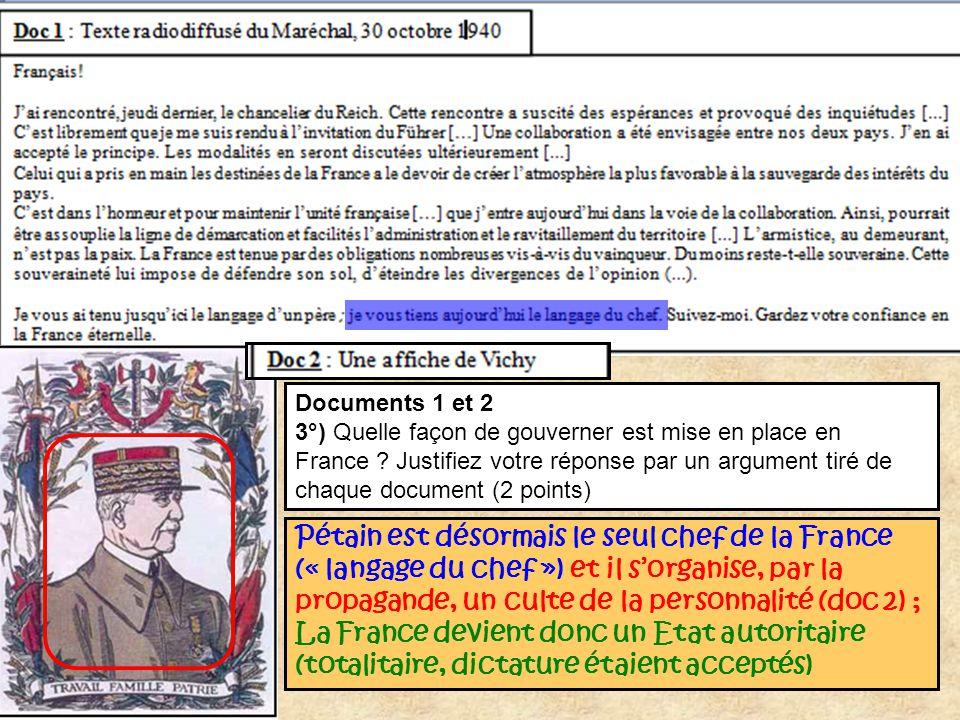 Documents 1 et 2 3°) Quelle façon de gouverner est mise en place en France ? Justifiez votre réponse par un argument tiré de chaque document (2 points