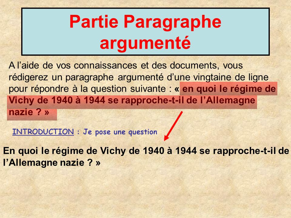 Partie Paragraphe argumenté A laide de vos connaissances et des documents, vous rédigerez un paragraphe argumenté dune vingtaine de ligne pour répondr
