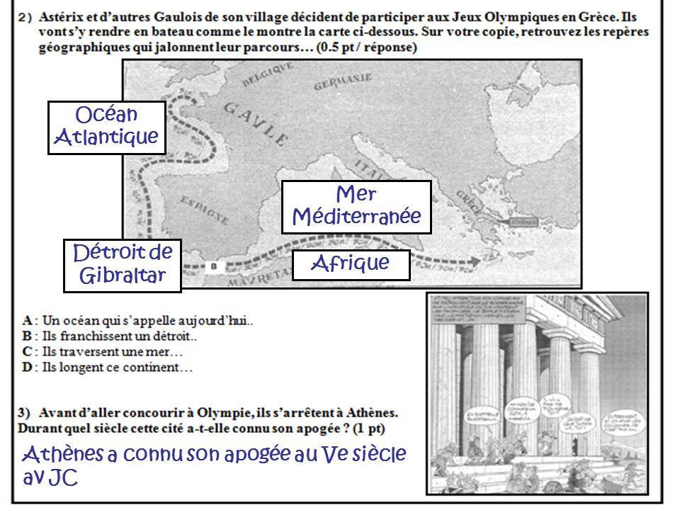 Océan Atlantique Athènes a connu son apogée au Ve siècle av JC Détroit de Gibraltar Mer Méditerranée Afrique