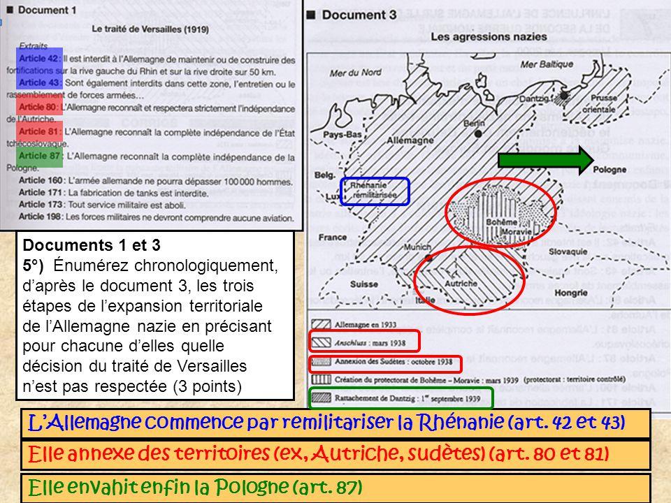 Documents 1 et 3 5°) Énumérez chronologiquement, daprès le document 3, les trois étapes de lexpansion territoriale de lAllemagne nazie en précisant po