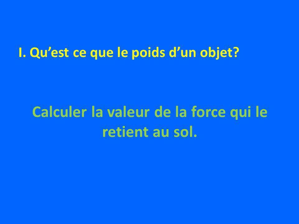 Calculer la valeur de la force qui le retient au sol. I. Quest ce que le poids dun objet?