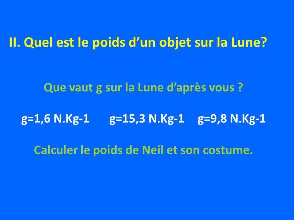 Que vaut g sur la Lune daprès vous ? g=1,6 N.Kg-1g=15,3 N.Kg-1g=9,8 N.Kg-1 Calculer le poids de Neil et son costume. II. Quel est le poids dun objet s