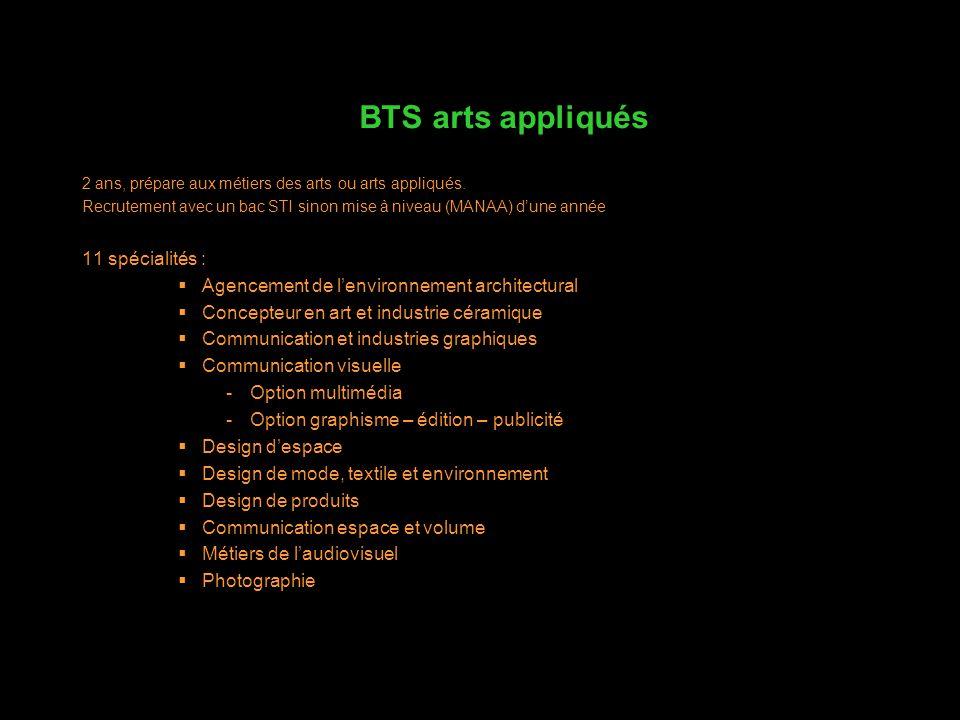 2 ans, prépare aux métiers des arts ou arts appliqués. Recrutement avec un bac STI sinon mise à niveau (MANAA) dune année 11 spécialités : Agencement
