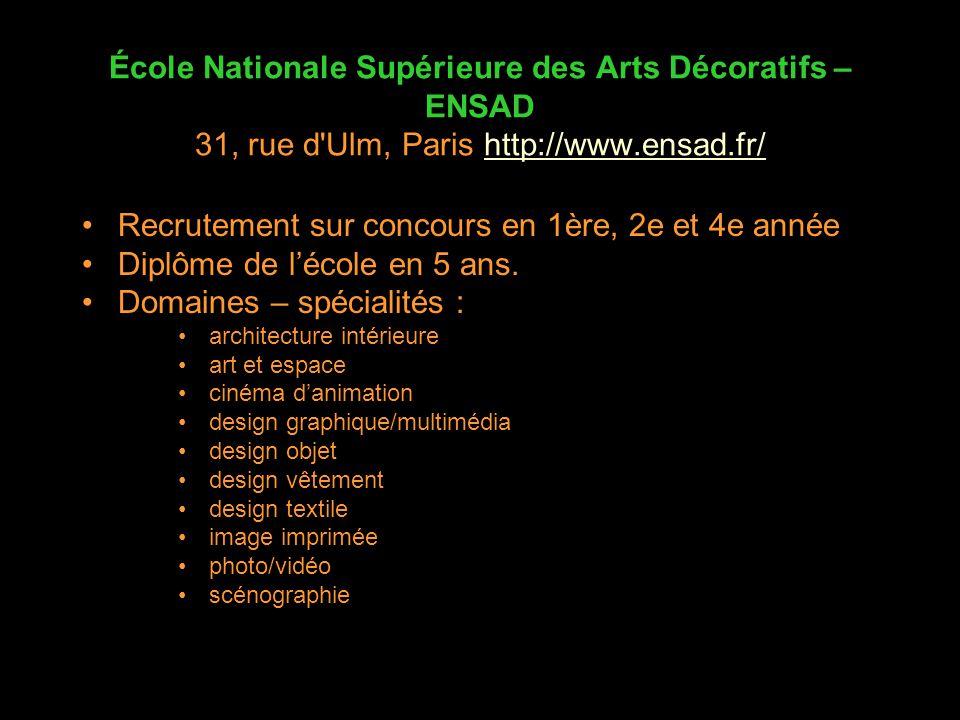 École Nationale Supérieure des Arts Décoratifs – ENSAD 31, rue d'Ulm, Paris http://www.ensad.fr/http://www.ensad.fr/ Recrutement sur concours en 1ère,