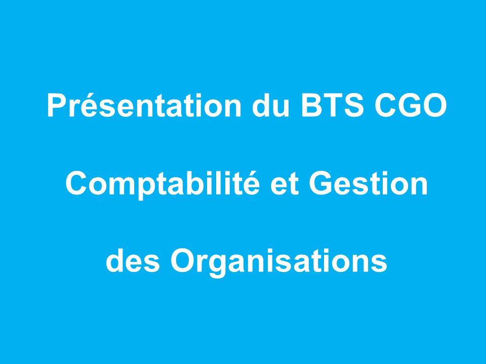 Présentation du BTS CGO Comptabilité et Gestion des Organisations
