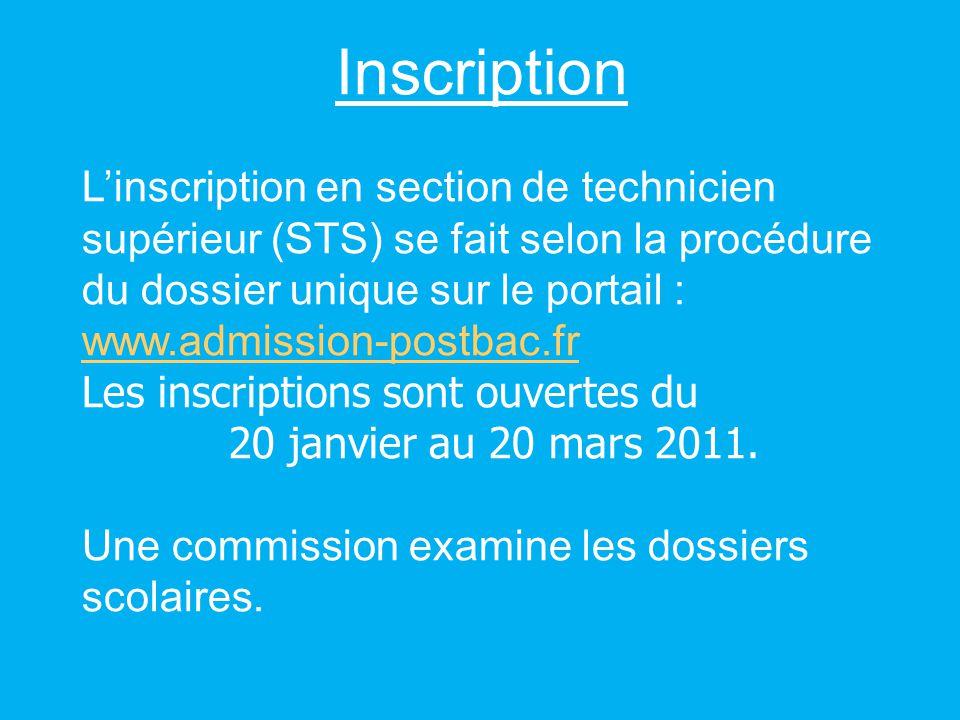Inscription Linscription en section de technicien supérieur (STS) se fait selon la procédure du dossier unique sur le portail : www.admission-postbac.