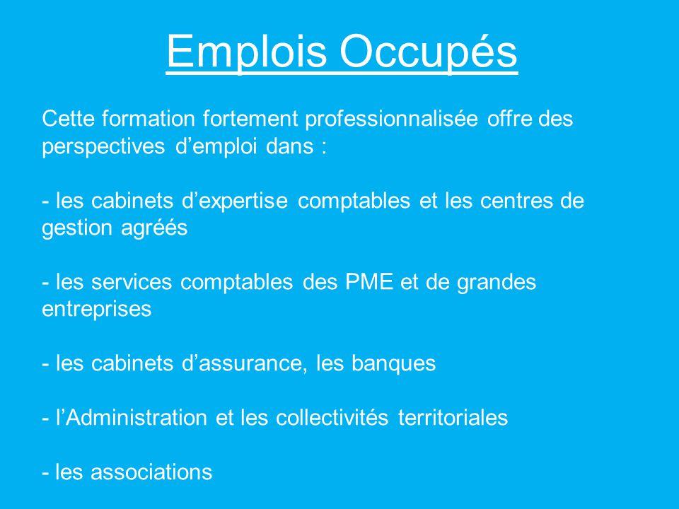 Emplois Occupés Cette formation fortement professionnalisée offre des perspectives demploi dans : - les cabinets dexpertise comptables et les centres