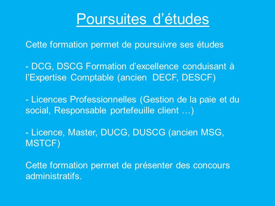 Poursuites détudes Cette formation permet de poursuivre ses études - DCG, DSCG Formation dexcellence conduisant à lExpertise Comptable (ancien DECF, D