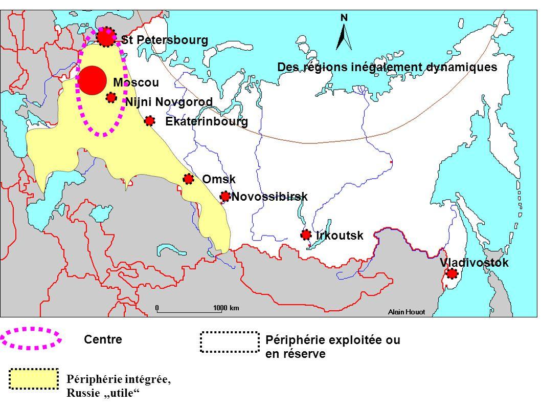 Périphérie intégrée, Russie utile Moscou St Petersbourg Nijni Novgorod Ekaterinbourg Omsk Novossibirsk Irkoutsk Vladivostok Centre Périphérie exploitée ou en réserve Des régions inégalement dynamiques