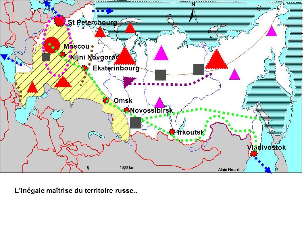 Moscou St Petersbourg Nijni Novgorod Ekaterinbourg Omsk Novossibirsk Irkoutsk Vladivostok L inégale maîtrise du territoire russe..