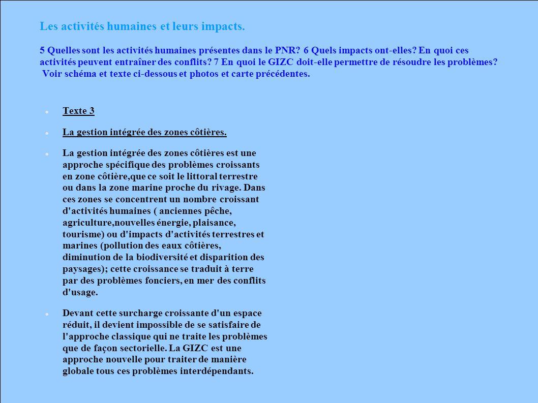 Les activités humaines et leurs impacts. 5 Quelles sont les activités humaines présentes dans le PNR? 6 Quels impacts ont-elles? En quoi ces activités