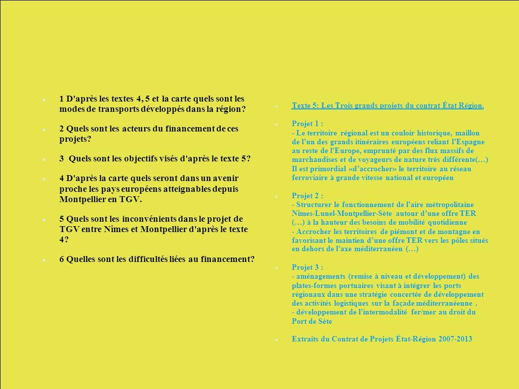1 D'après les textes 4, 5 et la carte quels sont les modes de transports développés dans la région? 2 Quels sont les acteurs du financement de ces pro