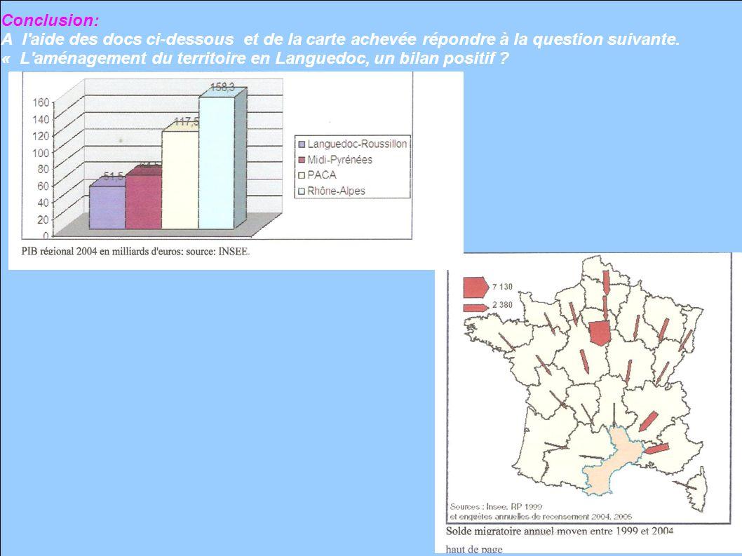 Conclusion: A l'aide des docs ci-dessous et de la carte achevée répondre à la question suivante. « L'aménagement du territoire en Languedoc, un bilan