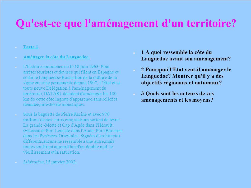 Qu'est-ce que l'aménagement d'un territoire? Texte 1 Aménager la côte du Languedoc. L'histoire commence ici le 18 juin 1963. Pour arrêter touristes et