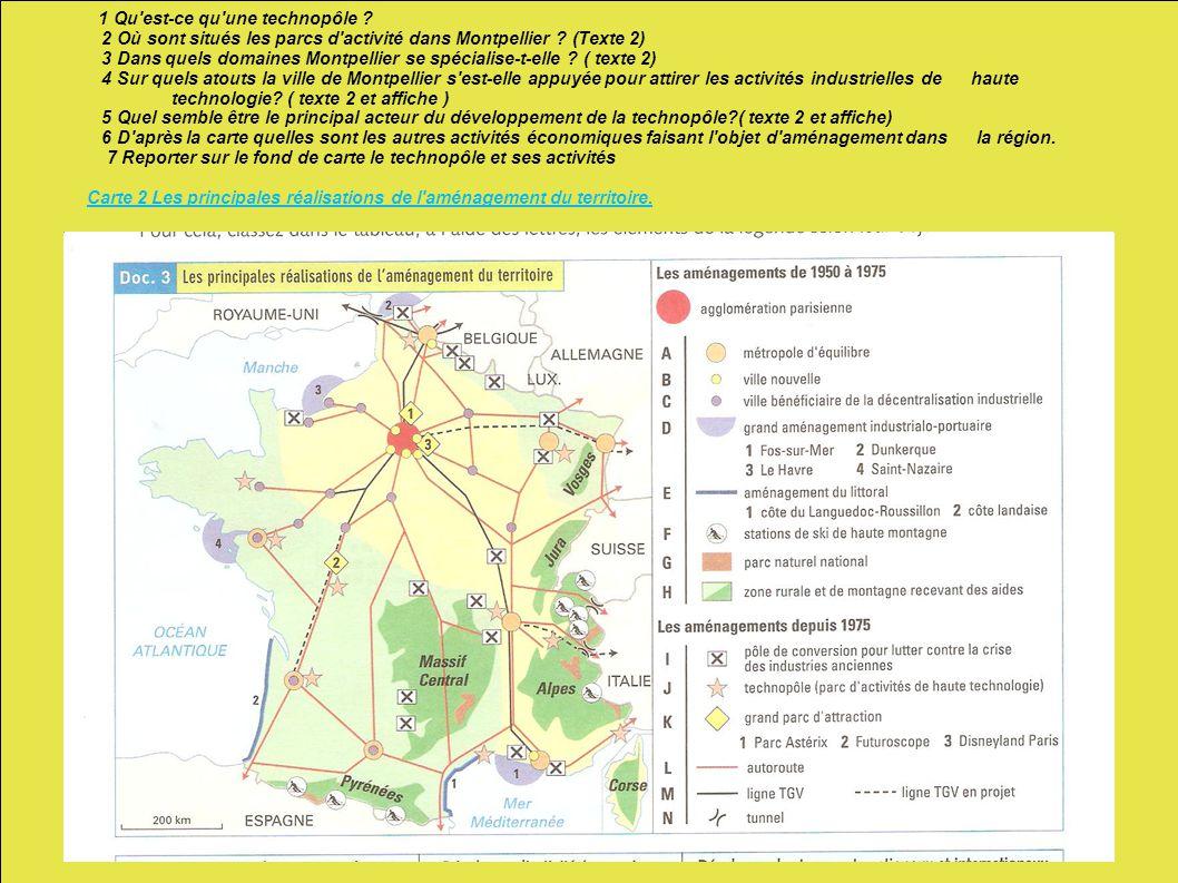 1 Qu'est-ce qu'une technopôle ? 2 Où sont situés les parcs d'activité dans Montpellier ? (Texte 2) 3 Dans quels domaines Montpellier se spécialise-t-e