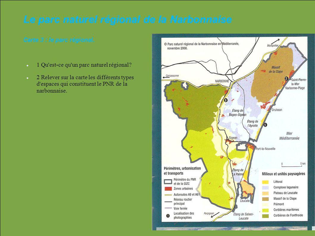 Le parc naturel régional de la Narbonnaise Carte 3 : le parc régional. 1 Qu'est-ce qu'un parc naturel régional? 2 Relever sur la carte les différents