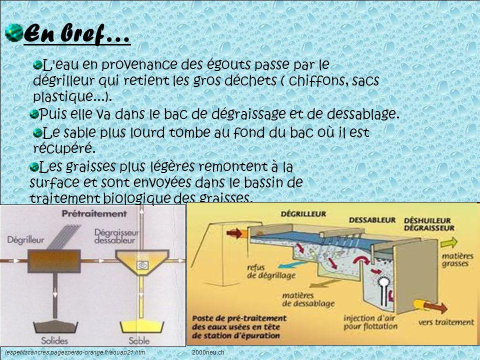 En bref… L'eau en provenance des égouts passe par le dégrilleur qui retient les gros déchets ( chiffons, sacs plastique...). Puis elle va dans le bac