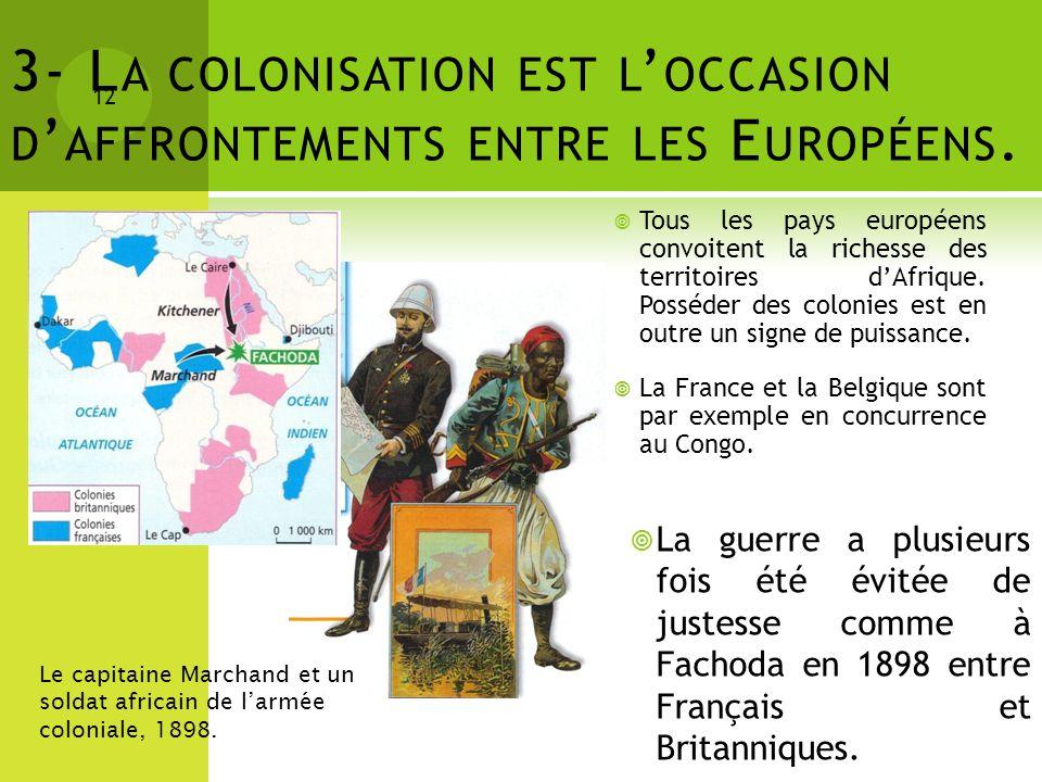 3- L A COLONISATION EST L OCCASION D AFFRONTEMENTS ENTRE LES E UROPÉENS. 12 Le capitaine Marchand et un soldat africain de larmée coloniale, 1898. Tou