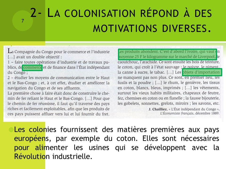 2- L A COLONISATION RÉPOND À DES MOTIVATIONS DIVERSES. 7 Les colonies fournissent des matières premières aux pays européens, par exemple du coton. Ell