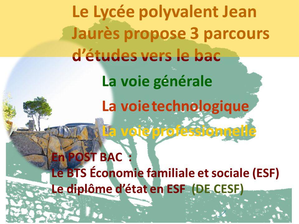 Le Lycée polyvalent Jean Jaurès propose 3 parcours détudes vers le bac La voie générale La voie technologique La voie professionnelle En POST BAC : Le