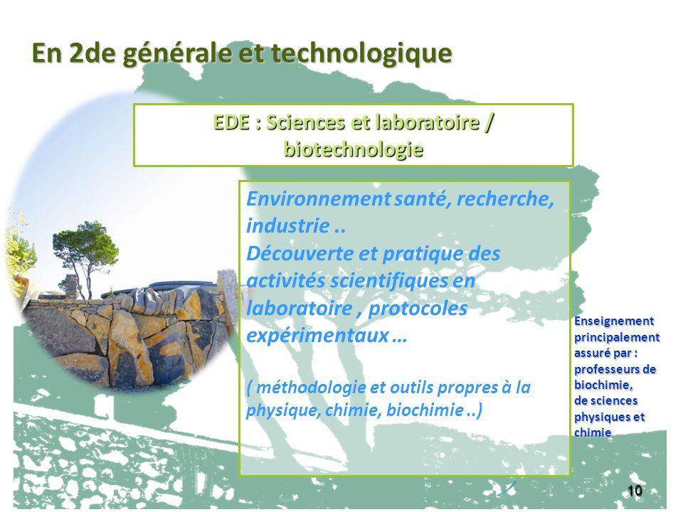 10 Environnement santé, recherche, industrie.. Découverte et pratique des activités scientifiques en laboratoire, protocoles expérimentaux … ( méthodo