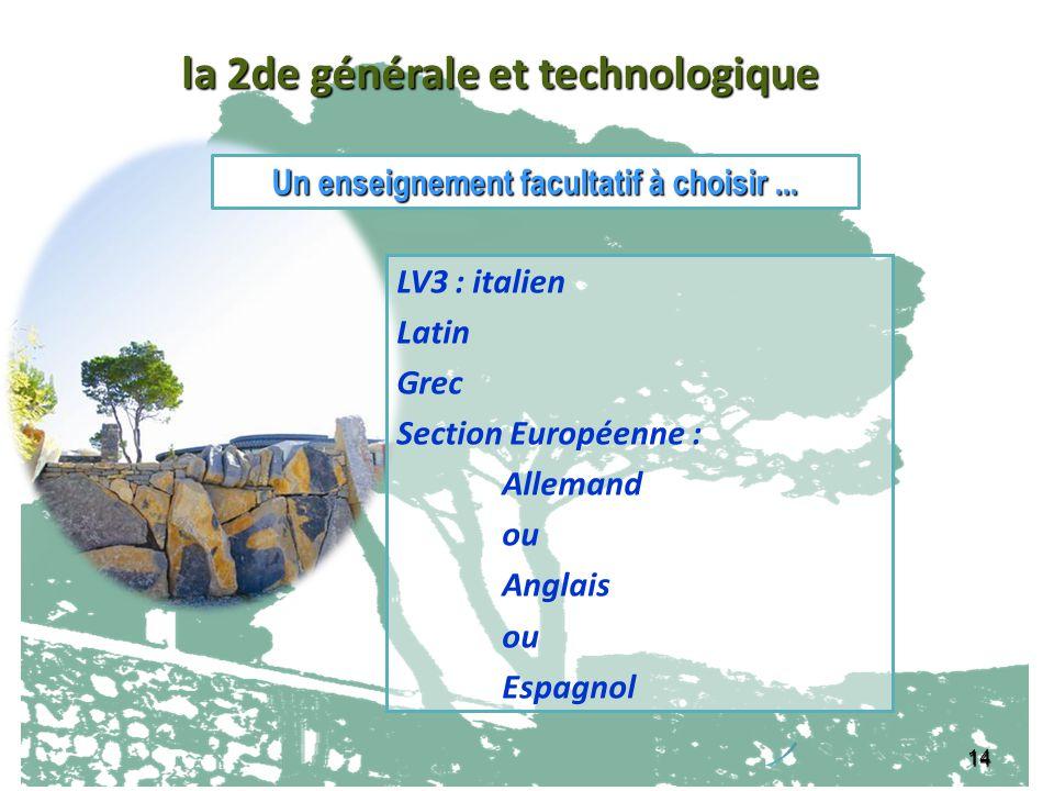 14 LV3 : italien Latin Grec Section Européenne : Allemand ou Anglais ou Espagnol Un enseignement facultatif à choisir... la 2de générale et technologi