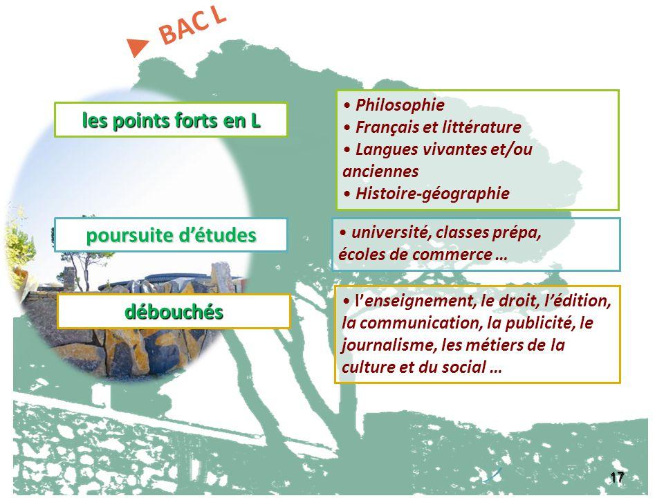 17 les points forts en L Philosophie Français et littérature Langues vivantes et/ou anciennes Histoire-géographie poursuite détudes université, classe