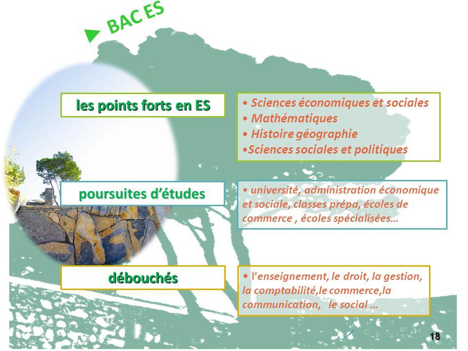 18 les points forts en ES Sciences économiques et sociales Mathématiques Histoire géographie Sciences sociales et politiques débouchés lenseignement,