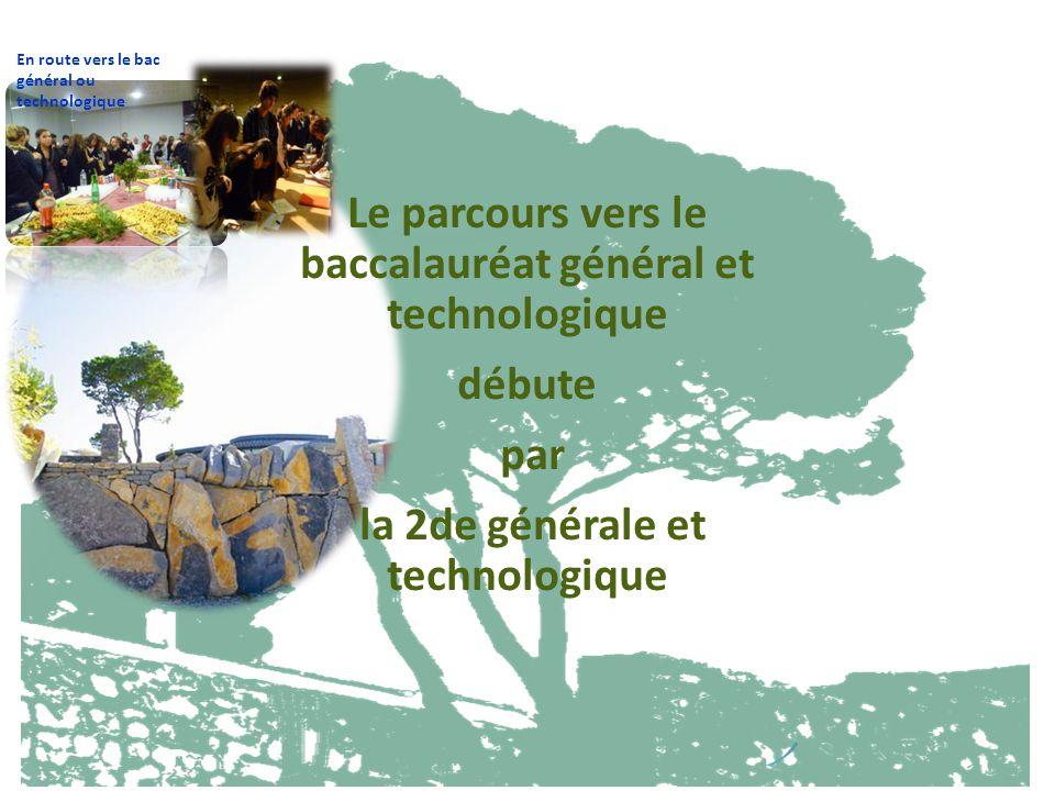 Le parcours vers le baccalauréat général et technologique débute par la 2de générale et technologique En route vers le bac général ou technologique