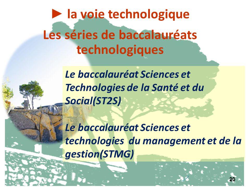 20 la voie générale : Le baccalauréat littéraire la voie technologique Les séries de baccalauréats technologiques Le baccalauréat Sciences et Technolo
