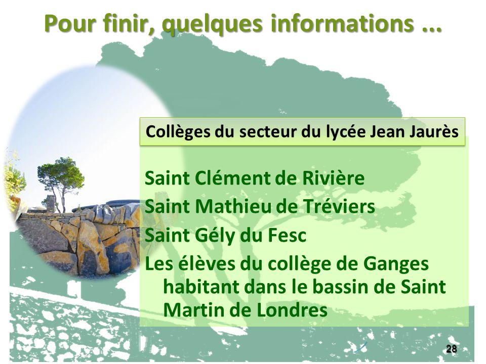 28 Pour finir, quelques informations... Saint Clément de Rivière Saint Mathieu de Tréviers Saint Gély du Fesc Les élèves du collège de Ganges habitant