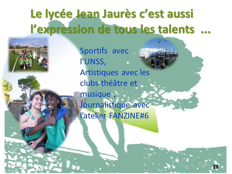 29 Le lycée Jean Jaurès cest aussi lexpression de tous les talents... Sportifs avec lUNSS, Artistiques avec les clubs théâtre et musique, Journalistiq