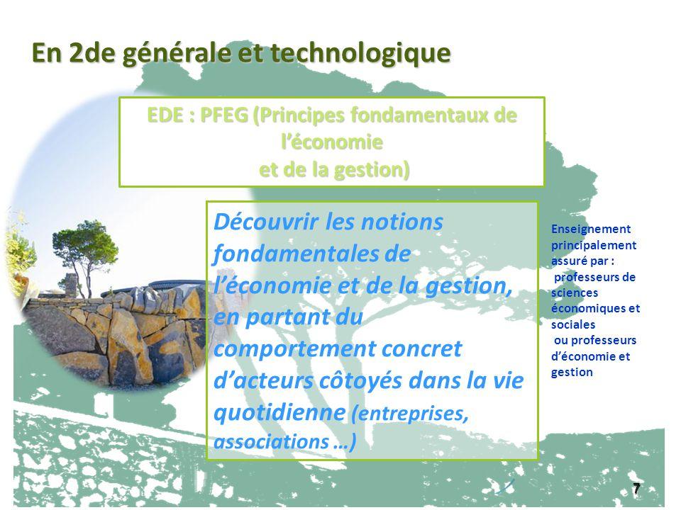 7 EDE : PFEG (Principes fondamentaux de léconomie et de la gestion) et de la gestion) Découvrir les notions fondamentales de léconomie et de la gestio