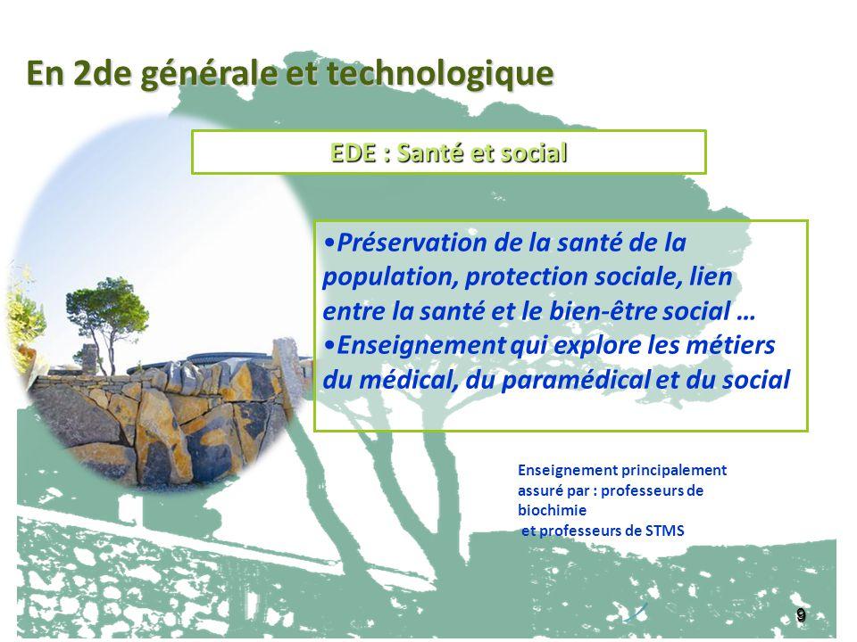 EDE : Santé et social 9 Préservation de la santé de la population, protection sociale, lien entre la santé et le bien-être social … Enseignement qui e