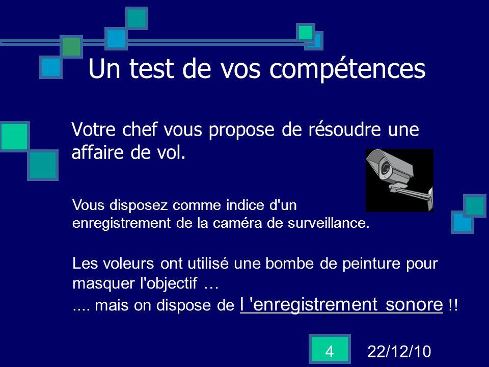 22/12/10 4 Un test de vos compétences Votre chef vous propose de résoudre une affaire de vol. Vous disposez comme indice d'un enregistrement de la cam