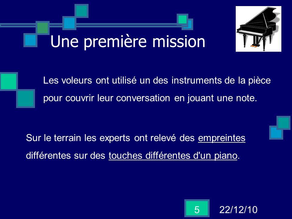 22/12/10 5 Une première mission Sur le terrain les experts ont relevé des empreintes différentes sur des touches différentes d'un piano. Les voleurs o