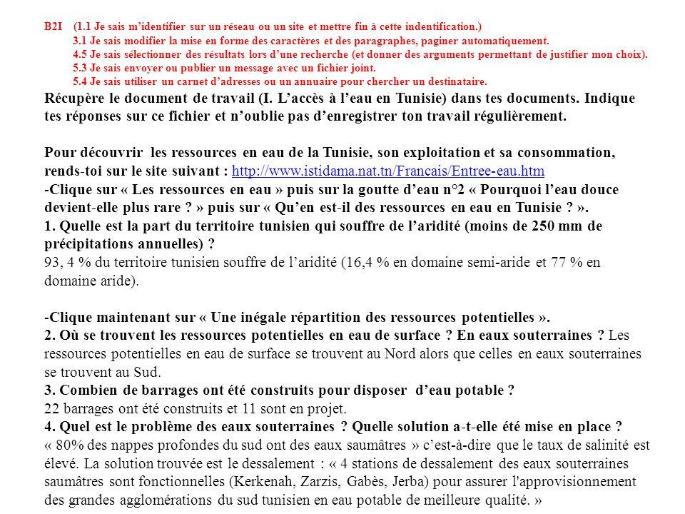 - Clique maintenant sur « Consommation deau en Tunisie ».