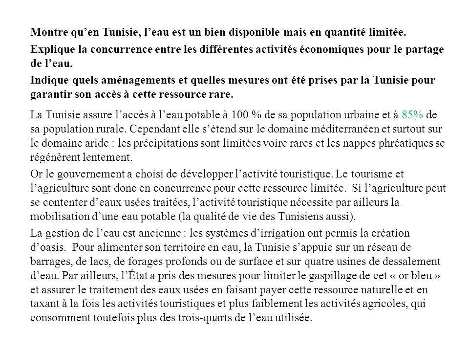 Montre quen Tunisie, leau est un bien disponible mais en quantité limitée.