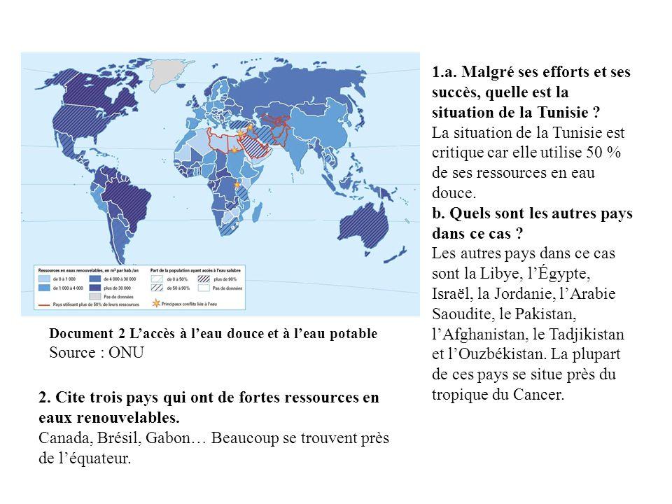 Document 3 Laccès à leau potable Philippe Rekacewicz mars 2008 http://www.monde-diplomatique.fr/cartes/eaupotable 3.