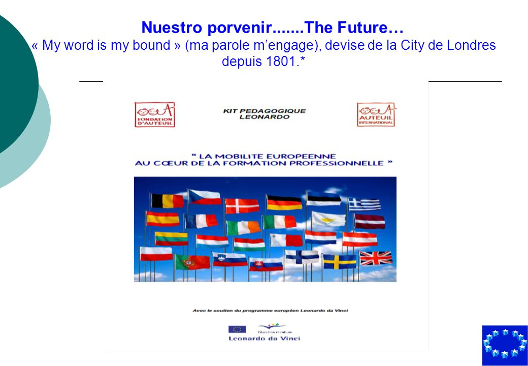 Nuestro porvenir.......The Future… « My word is my bound » (ma parole mengage), devise de la City de Londres depuis 1801.*